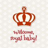Royal crown with text Welcome royal baby, illustration Stock Photo