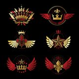 Royal Crowns and Ancient Stars emblems set. Heraldic Coat of Arm. S decorative logos isolated vector illustrations collection Royalty Free Stock Images