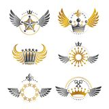 Royal Crowns and Ancient Stars emblems set. Heraldic Coat of Arm. S decorative logos isolated vector illustrations collection royalty free illustration