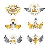 Royal Crowns and Ancient Stars emblems set. Heraldic Coat of Arm. S decorative logos isolated vector illustrations collection Stock Photo
