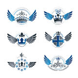 Royal Crowns and Ancient Stars emblems set. Heraldic Coat of Arm. S decorative logos isolated vector illustrations collection vector illustration