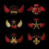 Royal Crowns and Ancient Stars emblems set. Heraldic Coat of Arm. S decorative logos isolated vector illustrations collection stock illustration