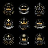 Royal Crowns emblems set. Heraldic vector design elements collec. Tion. Retro style label, heraldry logo Stock Images