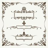 Royal crowns and fleur de lys ornate frames Royalty Free Stock Photography