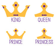 Royal Crowns, King, Queen, Prince, Princess. A set of golden crowns for a royal family. The set includes King, Queen, Prince and Princess Royalty Free Stock Image