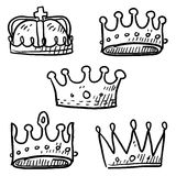 Royal crowns sketch. Doodle style set of royal crowns in vector format Stock Photography