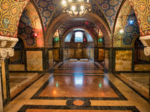 Royal crypt. Tombs of the royal family of Karadjordjevic in the crypt of the Oplenac church stock photos
