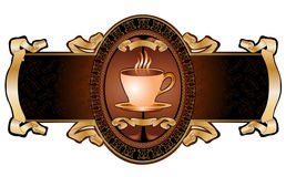 Royal cup coffee advertising banner Stock Images