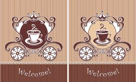 Royal Cup of coffee or tea in carriage Stock Photos