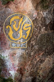 Royal cypher or monograms of Thailand king on rock wall Royalty Free Stock Photos