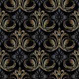 Royal 3d Baroque seamless pattern. Vintage vector ornate backgro. Und. Luxury tapestry wallpaper. Antique grunge embroidered kingly crown. Embroidery lace floral stock illustration