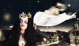 Royal damsel in distress waving white castle flag Royalty Free Stock Photo
