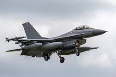 Royal Danish Air Force General Dynamics F-16AM `Fighting Falcon` fighter aircraft E-008. RAF Waddington, Lincolnshire, UK - July 7, 2014: Royal Danish Air Force Stock Images