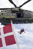 Royal Danish Air Fore rescue helicopter Stock Images