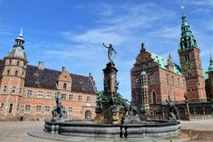 Royal Danish castle and courtyard Stock Photo