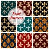 Royal decorative ornate patterns set. Vector seamless pattern of floral ornament, damask decor. vintage fleur-de-lis flourish interior design background Stock Images