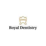 Royal dentistry logo. Minimal illustration of a tooth and a crown that can be used for logo or as isolated graphic element Royalty Free Stock Photo