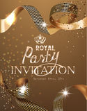 Royal design banner with gold curly silk ribbons and gold background. Ribbon cutting ceremony. Royalty Free Stock Image