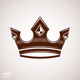 Royal design element, regal icon. Vector majestic crown, luxury stylized coronet illustration. Royalty Free Stock Photos