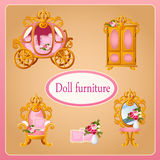 Royal doll furniture for the room Princess. Set of five objects Stock Photo