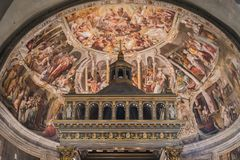 Royal dome inside a Roman church in Rome. Italy royalty free stock photography