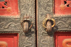 Royal dragon door details of Forbidden City. Design details of the palace of Beijing, China Stock Photos