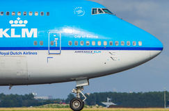 Royal Dutch Airlines. On Amsterdam Schiphol airport Royalty Free Stock Photo