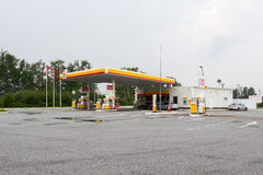 Royal Dutch Shell gas station on a summer day. Leningrad Region, Russia - July 26, 2016: Royal Dutch Shell gas station on a summer day stock photos