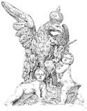 Royal eagle and two babies Stock Image