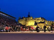 Royal Edinburgh Military Tattoo. Massed Pipes and Drums Festival, with the bagpipe at the center. An annual series of military tattoos performed by British Armed royalty free stock image