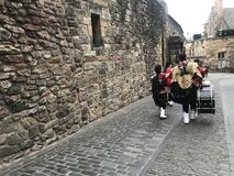 Royal Edinburgh Military Tattoo. Massed Pipes and Drums Festival, with the bagpipe at the center. An annual series of military tattoos performed by British Armed royalty free stock photos