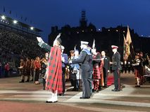 Royal Edinburgh Military Tattoo. Massed Pipes and Drums Festival, with the bagpipe at the center. An annual series of military tattoos performed by British Armed stock photo