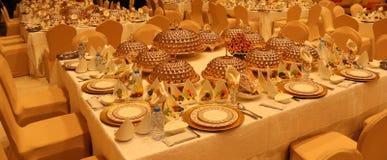 Royal elegance wedding reception table with different cookery food arrangement . Royal elegance wedding reception table with different cookery food arrangement stock images