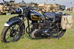 Royal Enfield. HEADCORN, UK - AUGUST 11: A vintage ex British Army; Royal Enfield motorcycle stands on static display at the Combined-Ops military show on August Royalty Free Stock Images