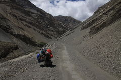 By Royal Enfield. Bike ride in Spiti Valley Indian Himalaya stock photo