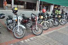 Royal Enfield bikers group at hotel. Indian famous Royal Enfield bikes parked near hotel. Bikers group vising different places on their bikes Royalty Free Stock Images
