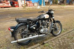 Royal Enfield Bullet. Royal Enfield is an Indian motorcycle manufacturing brand with the tag of `the oldest global motorcycle brand in continuous production` stock photos