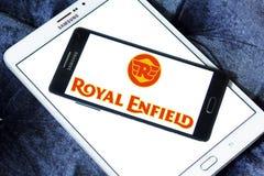 Royal enfield motor logo. Logo of  royal enfield motor brand on samsung mobile phone a5 Stock Photo