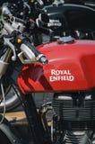 Royal enfield motorbike. Peasro 2016 sunride Vintage Royal enfield motorbike Royalty Free Stock Photos