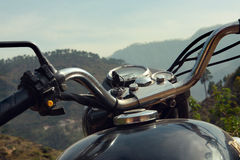 Royal Enfield motorcycle in the Himalayas, India. Motortrip Royalty Free Stock Photo