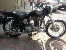 Royal Enfield motorcycle. Royal Enfield on the streets of mumbai Stock Images