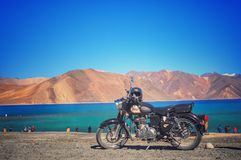 Royal enfield with pangong lake Royalty Free Stock Photo