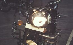 Royal Enfield Vintage Motorcycle Stock Photo