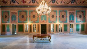 Royal era historic Manasterly Palace with decorated ceiling abd big chandelier, Cairo, Egypt