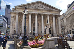 Royal Exchange, Bank of England. Square and underground station Stock Photo