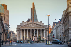 Royal exchange building, Bank of England square Royalty Free Stock Photo