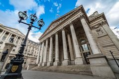 The Royal Exchange, London, UK. The Royal Exchange in the financial district of Bank, London, UK Stock Images