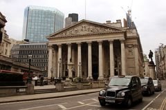 Royal Exchange, London. The Royal Exchange in the heart of the City of London Royalty Free Stock Image