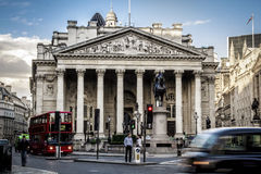 Royal Exchange, London. With Red doubledecker Royalty Free Stock Images