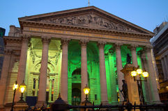 Royal Exchange at night. The Royal Exchange founded in 1566 stands on the junction of Threadneedle Street and Cornhill is the third of these buildings to stand stock images